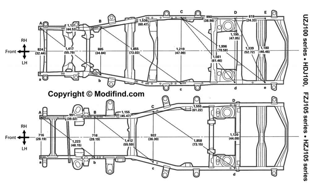 land cruiser 100 vs 105 frame width chassis drawings
